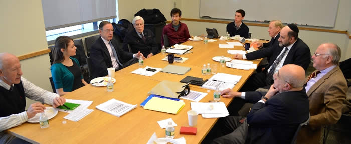The Aspin Committee's annual gathering at Yale's Jackson Center for Global Affairs. During its March 27 meeting, the Committee interviewed seven finalist applicants and made awards to the three Yale juniors profiled above.